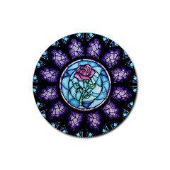 Cathedral Rosette Stained Glass Rubber Round Coaster (4 Pack)