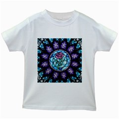 Cathedral Rosette Stained Glass Kids White T Shirts