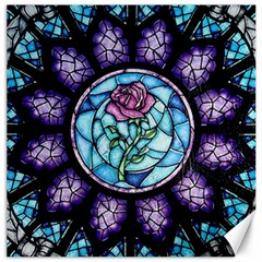 Cathedral Rosette Stained Glass Canvas 16  X 16