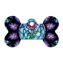 Cathedral Rosette Stained Glass Dog Tag Bone (one Side)