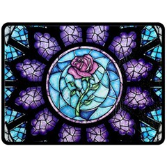 Cathedral Rosette Stained Glass Double Sided Fleece Blanket (large)