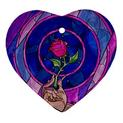 Enchanted Rose Stained Glass Ornament (heart) by Samandel