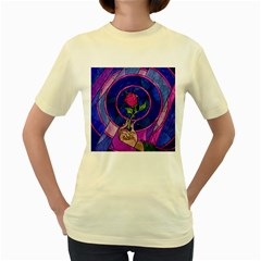 Enchanted Rose Stained Glass Women s Yellow T Shirt