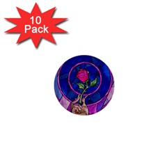 Enchanted Rose Stained Glass 1  Mini Buttons (10 Pack)