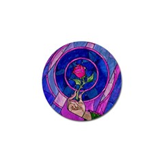 Enchanted Rose Stained Glass Golf Ball Marker by Samandel