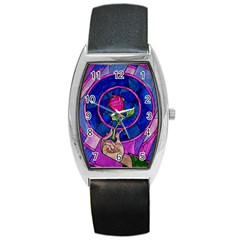 Enchanted Rose Stained Glass Barrel Style Metal Watch by Samandel