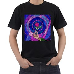 Enchanted Rose Stained Glass Men s T Shirt (black) (two Sided)