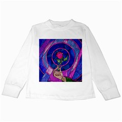 Enchanted Rose Stained Glass Kids Long Sleeve T Shirts by Samandel