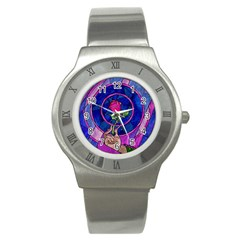 Enchanted Rose Stained Glass Stainless Steel Watch by Samandel