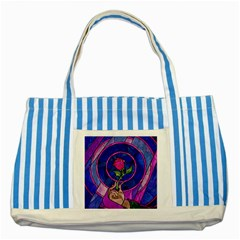 Enchanted Rose Stained Glass Striped Blue Tote Bag by Samandel