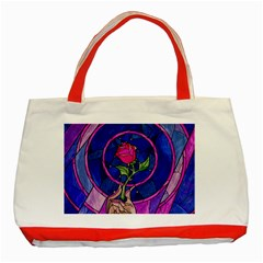 Enchanted Rose Stained Glass Classic Tote Bag (red) by Samandel