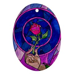 Enchanted Rose Stained Glass Oval Ornament (two Sides) by Samandel