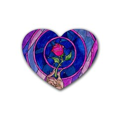 Enchanted Rose Stained Glass Heart Coaster (4 Pack)  by Samandel
