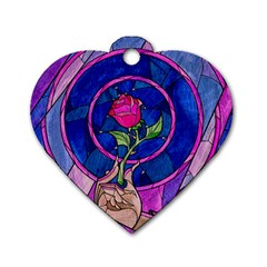 Enchanted Rose Stained Glass Dog Tag Heart (one Side) by Samandel