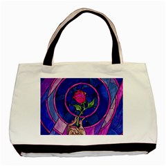Enchanted Rose Stained Glass Basic Tote Bag (two Sides) by Samandel