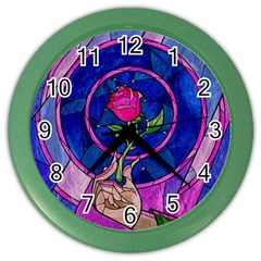 Enchanted Rose Stained Glass Color Wall Clocks by Samandel