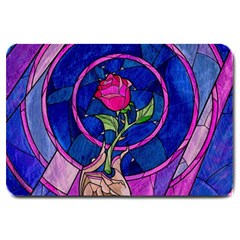 Enchanted Rose Stained Glass Large Doormat  by Samandel