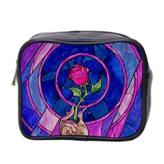 Enchanted Rose Stained Glass Mini Toiletries Bag 2 Side by Samandel