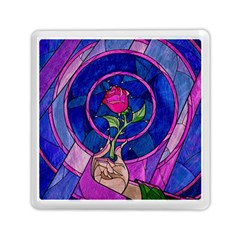 Enchanted Rose Stained Glass Memory Card Reader (square)  by Samandel