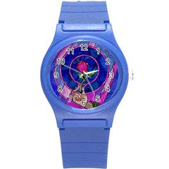 Enchanted Rose Stained Glass Round Plastic Sport Watch (s) by Samandel
