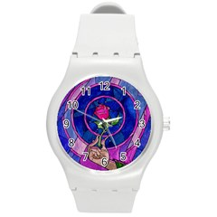 Enchanted Rose Stained Glass Round Plastic Sport Watch (m) by Samandel