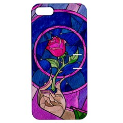Enchanted Rose Stained Glass Apple Iphone 5 Hardshell Case With Stand by Samandel