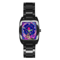 Enchanted Rose Stained Glass Stainless Steel Barrel Watch by Samandel