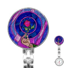 Enchanted Rose Stained Glass Stainless Steel Nurses Watch by Samandel