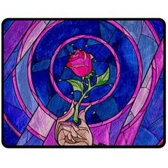 Enchanted Rose Stained Glass Double Sided Fleece Blanket (medium)  by Samandel