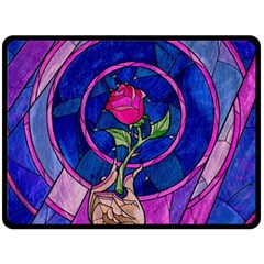 Enchanted Rose Stained Glass Double Sided Fleece Blanket (large)  by Samandel