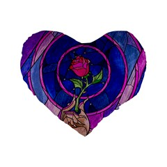 Enchanted Rose Stained Glass Standard 16  Premium Flano Heart Shape Cushions by Samandel