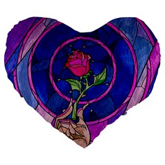 Enchanted Rose Stained Glass Large 19  Premium Flano Heart Shape Cushions by Samandel