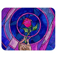 Enchanted Rose Stained Glass Double Sided Flano Blanket (medium)  by Samandel
