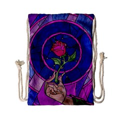 Enchanted Rose Stained Glass Drawstring Bag (small) by Samandel