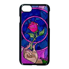 Enchanted Rose Stained Glass Apple Iphone 7 Seamless Case (black) by Samandel
