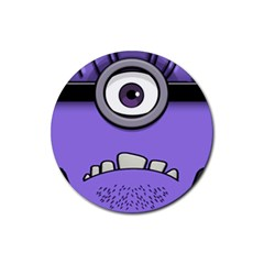 Evil Purple Rubber Coaster (round)