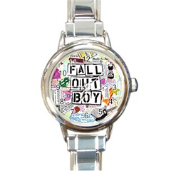 Fall Out Boy Lyric Art Round Italian Charm Watch by Samandel