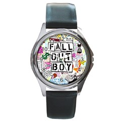 Fall Out Boy Lyric Art Round Metal Watch by Samandel