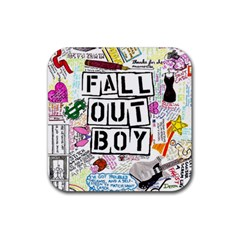Fall Out Boy Lyric Art Rubber Square Coaster (4 Pack)  by Samandel