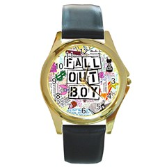 Fall Out Boy Lyric Art Round Gold Metal Watch by Samandel