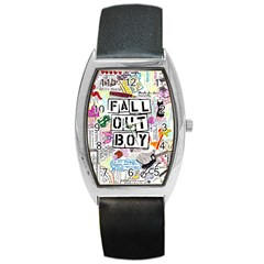 Fall Out Boy Lyric Art Barrel Style Metal Watch by Samandel
