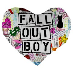 Fall Out Boy Lyric Art Large 19  Premium Heart Shape Cushions by Samandel