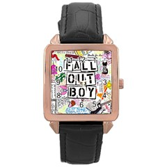 Fall Out Boy Lyric Art Rose Gold Leather Watch  by Samandel