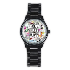 Fall Out Boy Lyric Art Stainless Steel Round Watch by Samandel