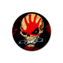 Five Finger Death Punch Heavy Metal Hard Rock Bands Skull Skulls Dark Rubber Coaster (round)  by Samandel