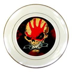 Five Finger Death Punch Heavy Metal Hard Rock Bands Skull Skulls Dark Porcelain Plates