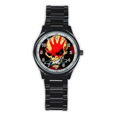 Five Finger Death Punch Heavy Metal Hard Rock Bands Skull Skulls Dark Stainless Steel Round Watch