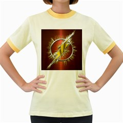 Flash Flashy Logo Women s Fitted Ringer T Shirts