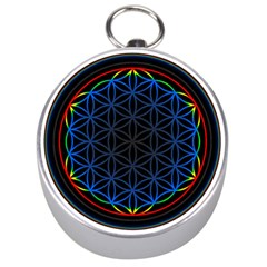 Flower Of Life Silver Compasses