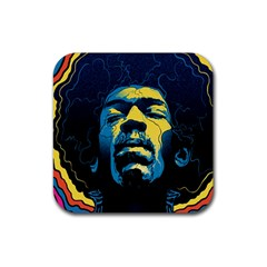 Gabz Jimi Hendrix Voodoo Child Poster Release From Dark Hall Mansion Rubber Square Coaster (4 Pack)  by Samandel